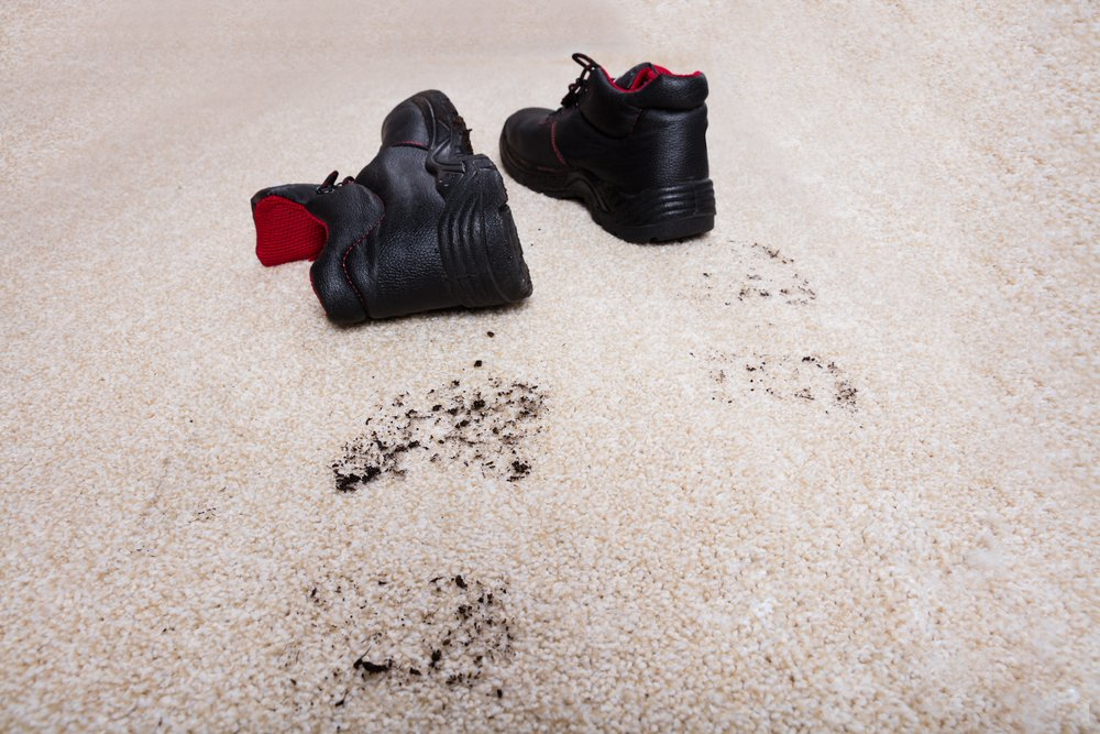 mud and shoes on carpet